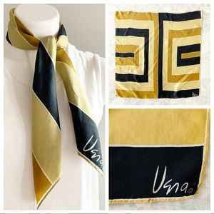 Vintage Vera Gold & Black Color Block Mod Scarf